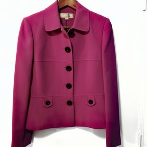 🌼Tahari Berry Colored Button up Jacket Size 6